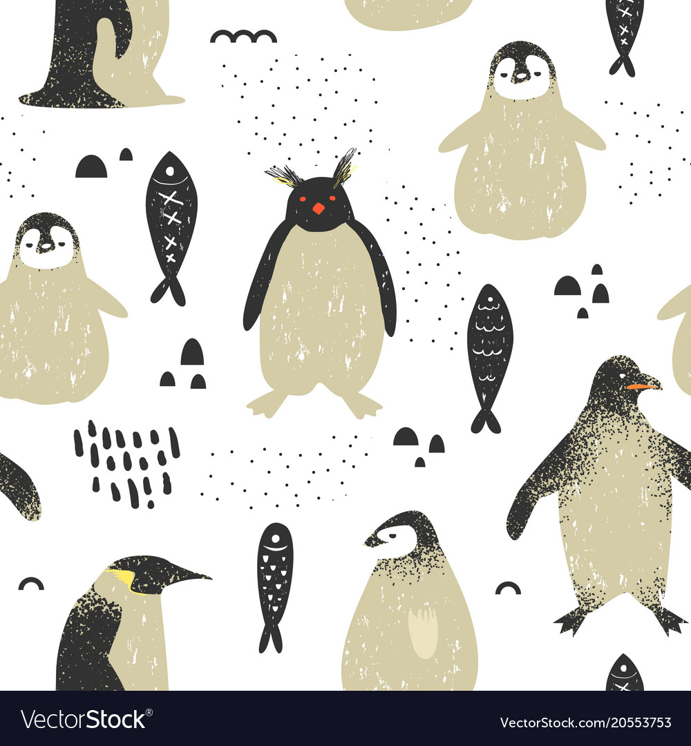 Baby shower seamless pattern with cute penguins