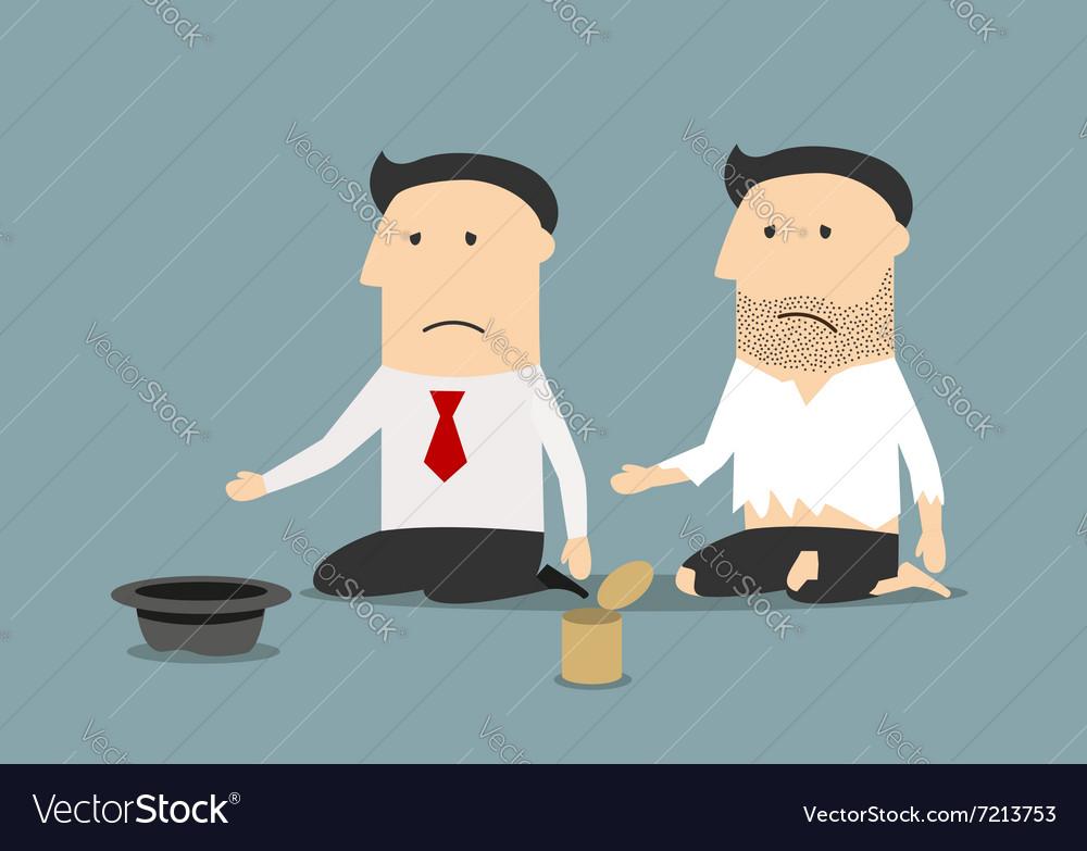 Bankrupt businessman and pauper begging money vector image