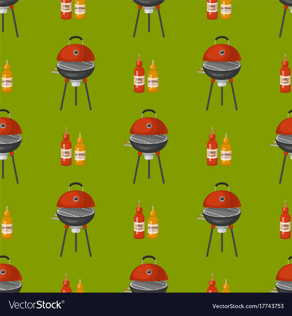 Barbecue home seamless pattern background