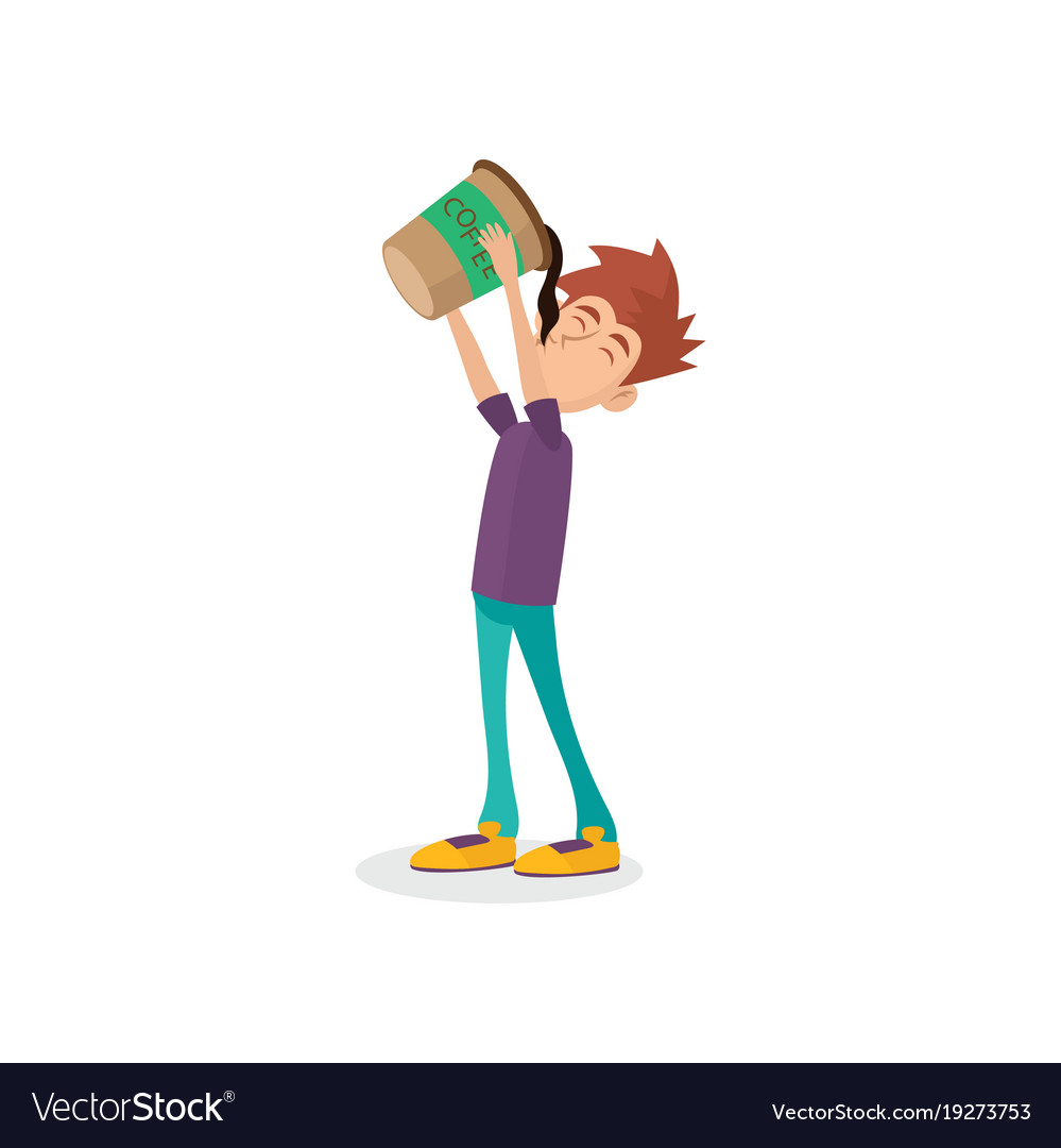 Cartoon male character drinking oversized cup of