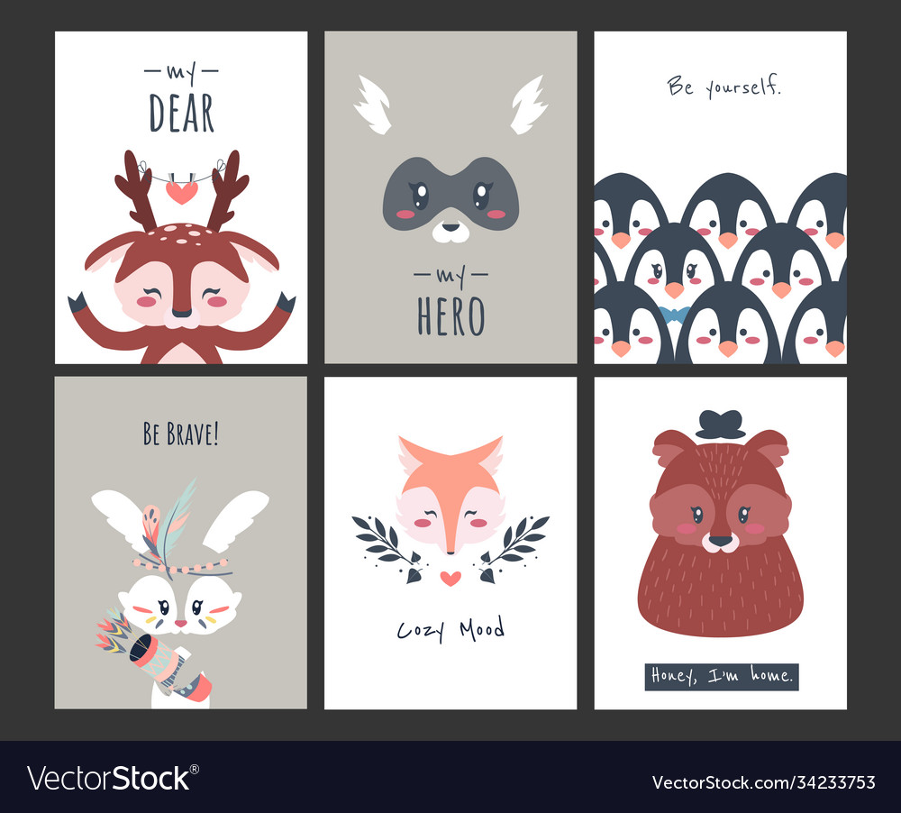 Cute animal posters funny woodland creatures for