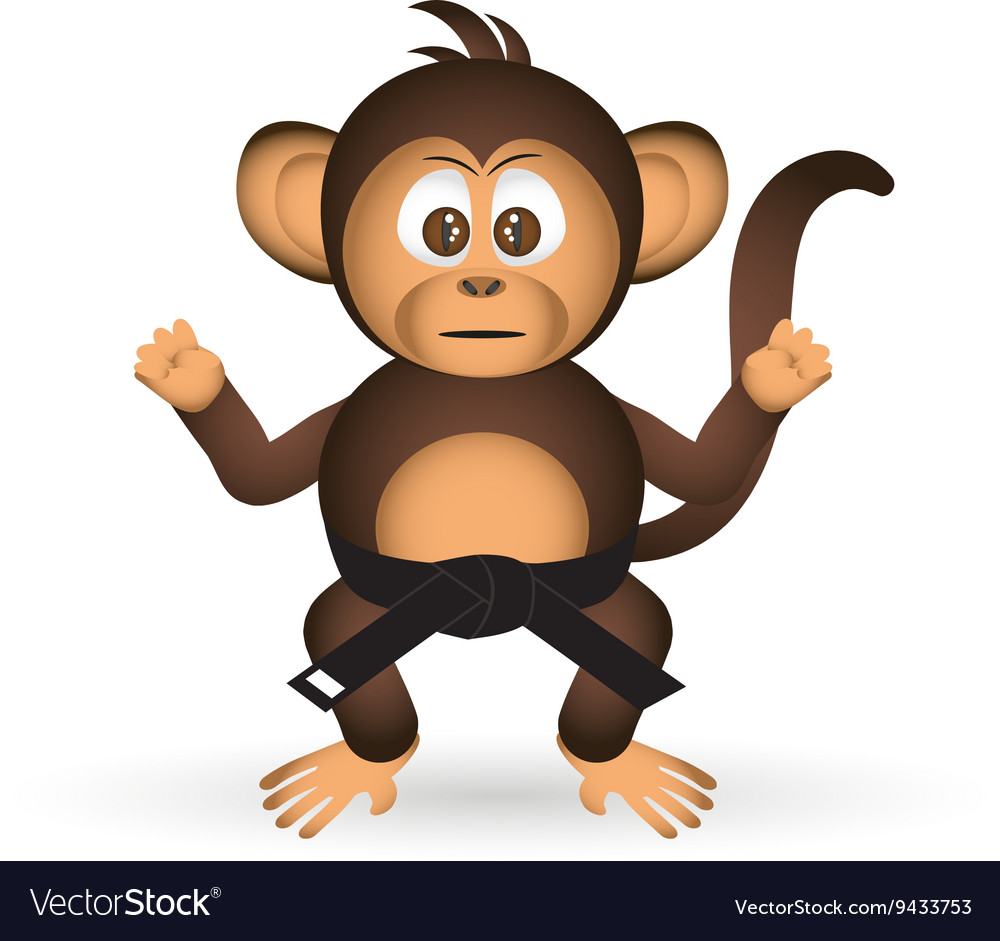 Cute chimpanzee karate training black belt little vector image