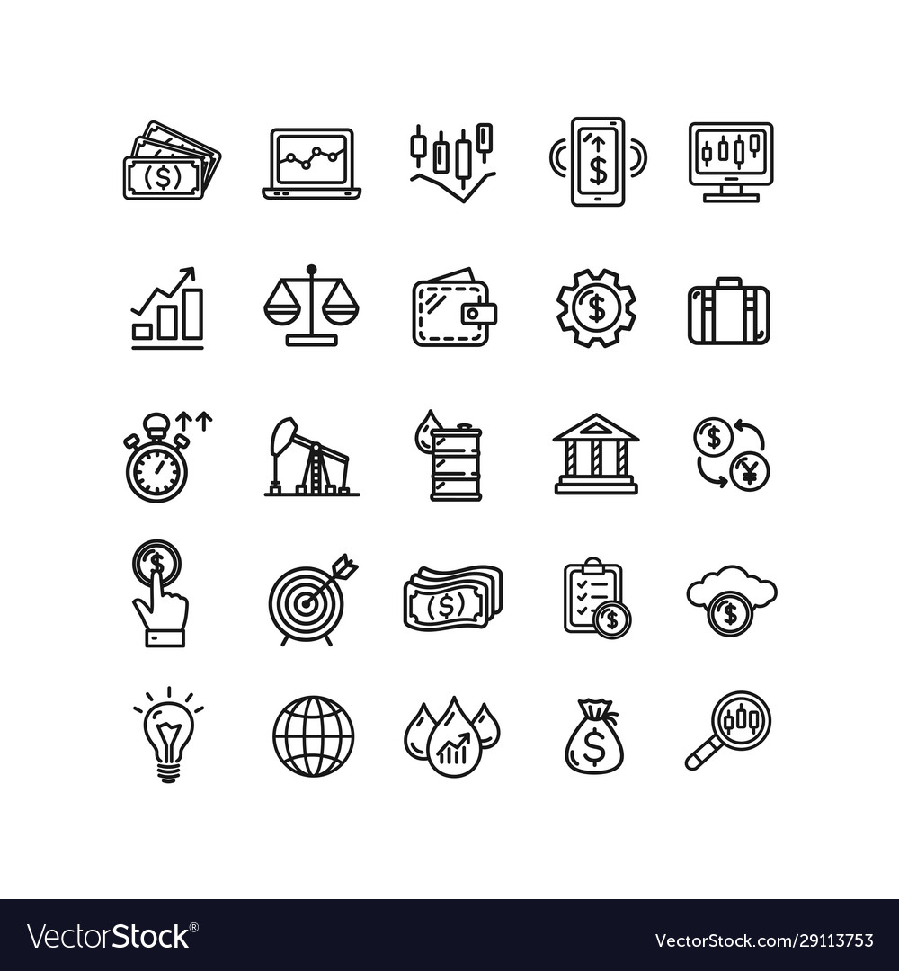 Finance investment sign black thin line icon set
