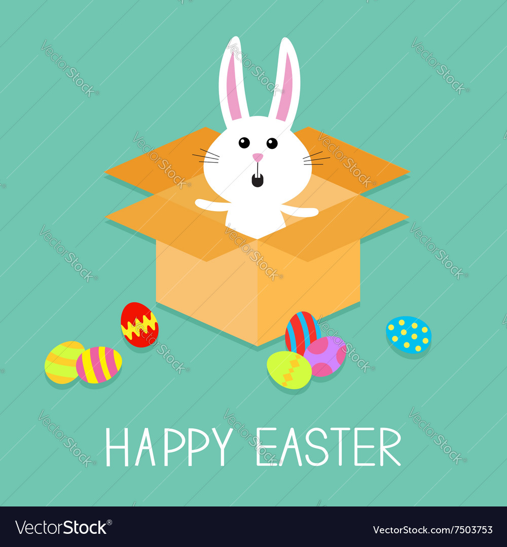 Happy Easter Cute bunny rabbit and eggs Open