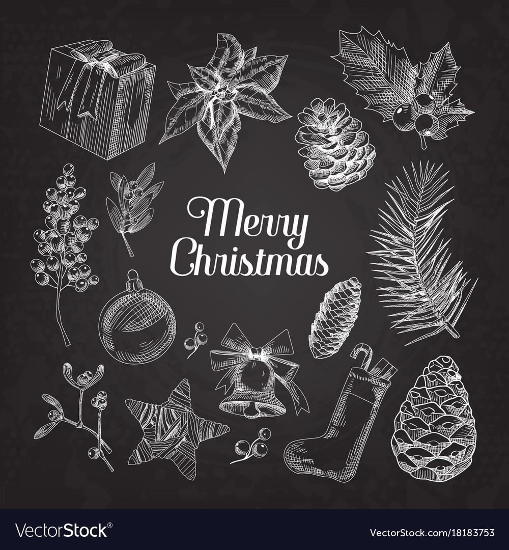 Holly christmas vintage doodle chalkboard