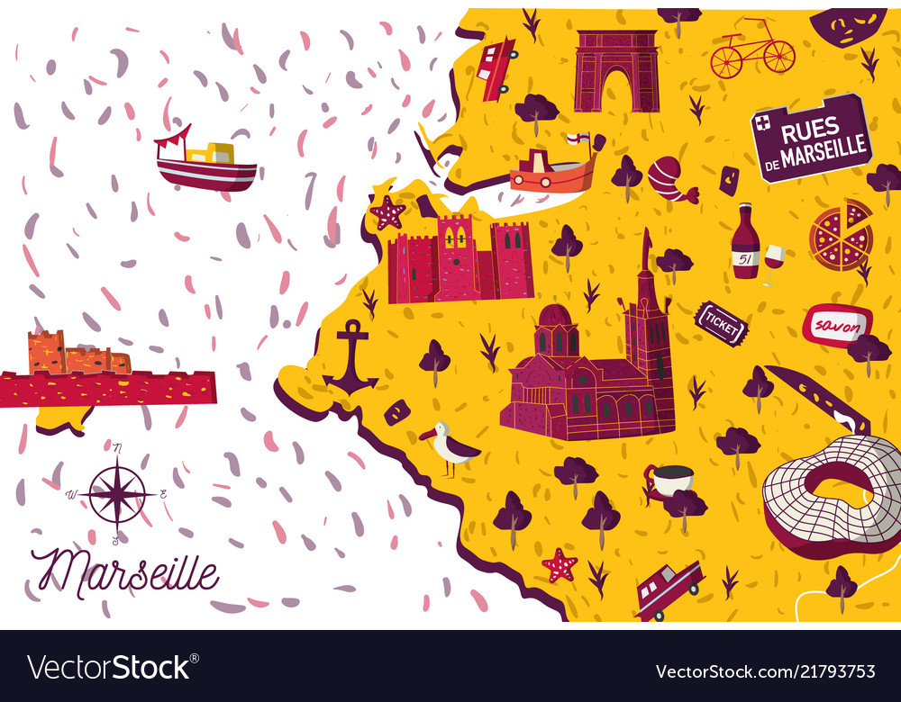 Marseille Map Of France.Marseille City Map Royalty Free Vector Image Vectorstock