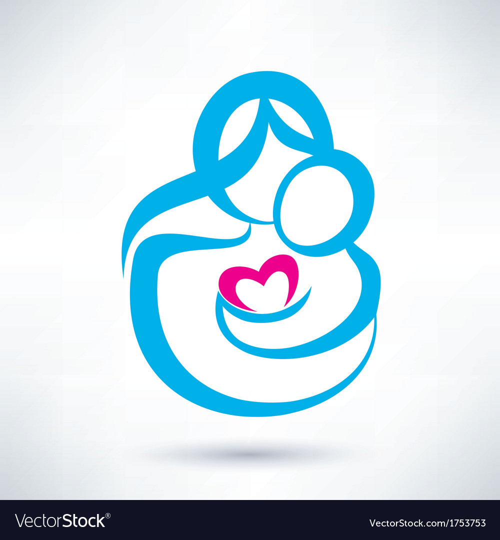 Mom and baby icon vector image