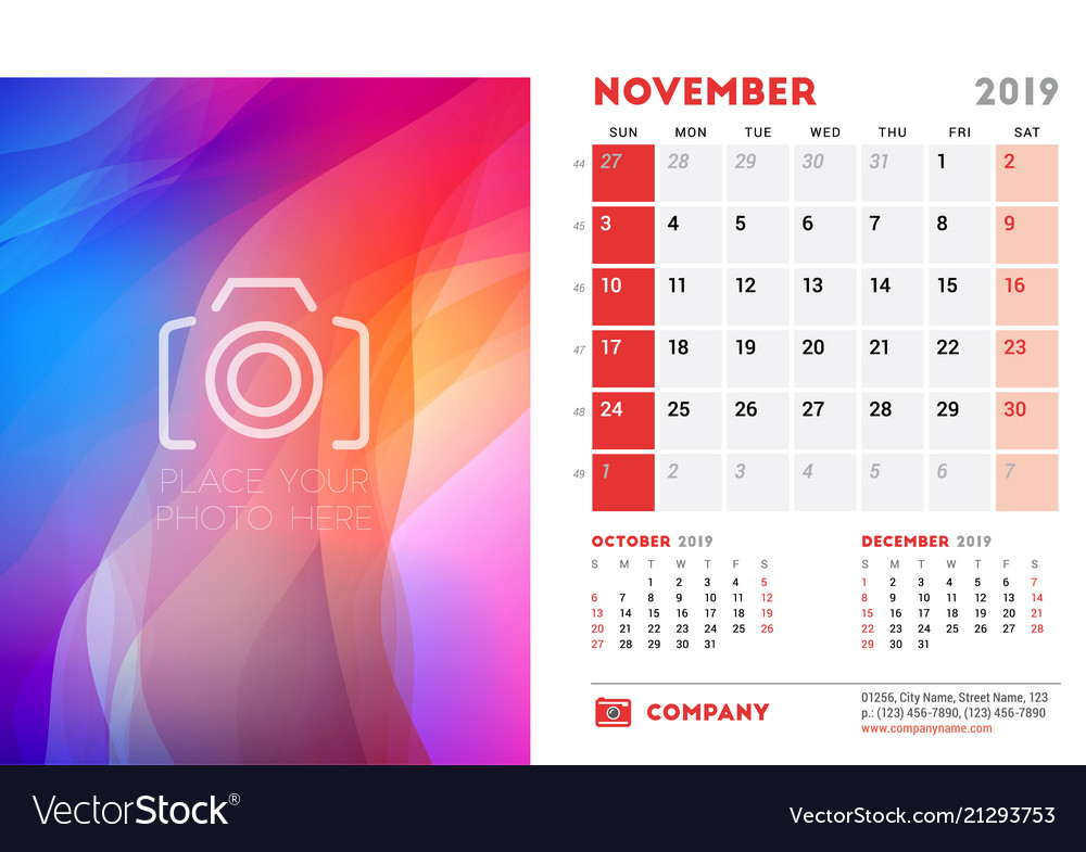 November 2019 Desk Calendar Design Template With Vector Image