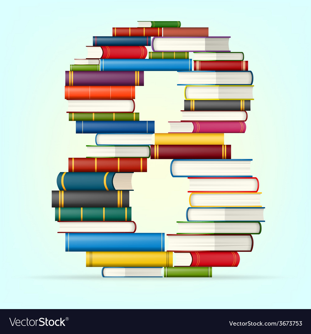 Numbers from stacks of multi colored books Vector Image