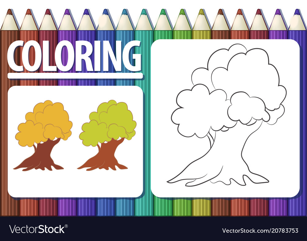 Page of coloring book with contour cartoon tree