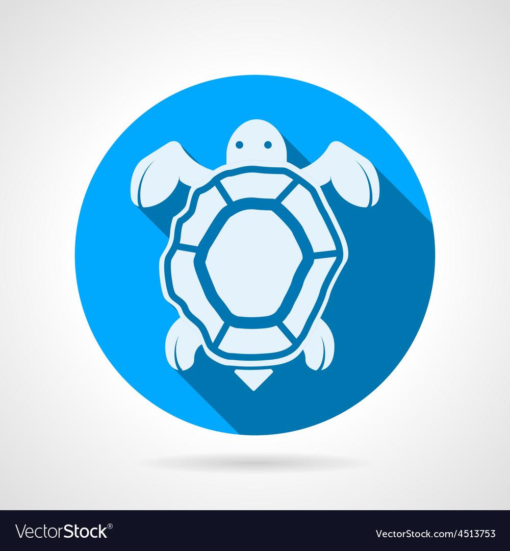Sea turtle flat round icon