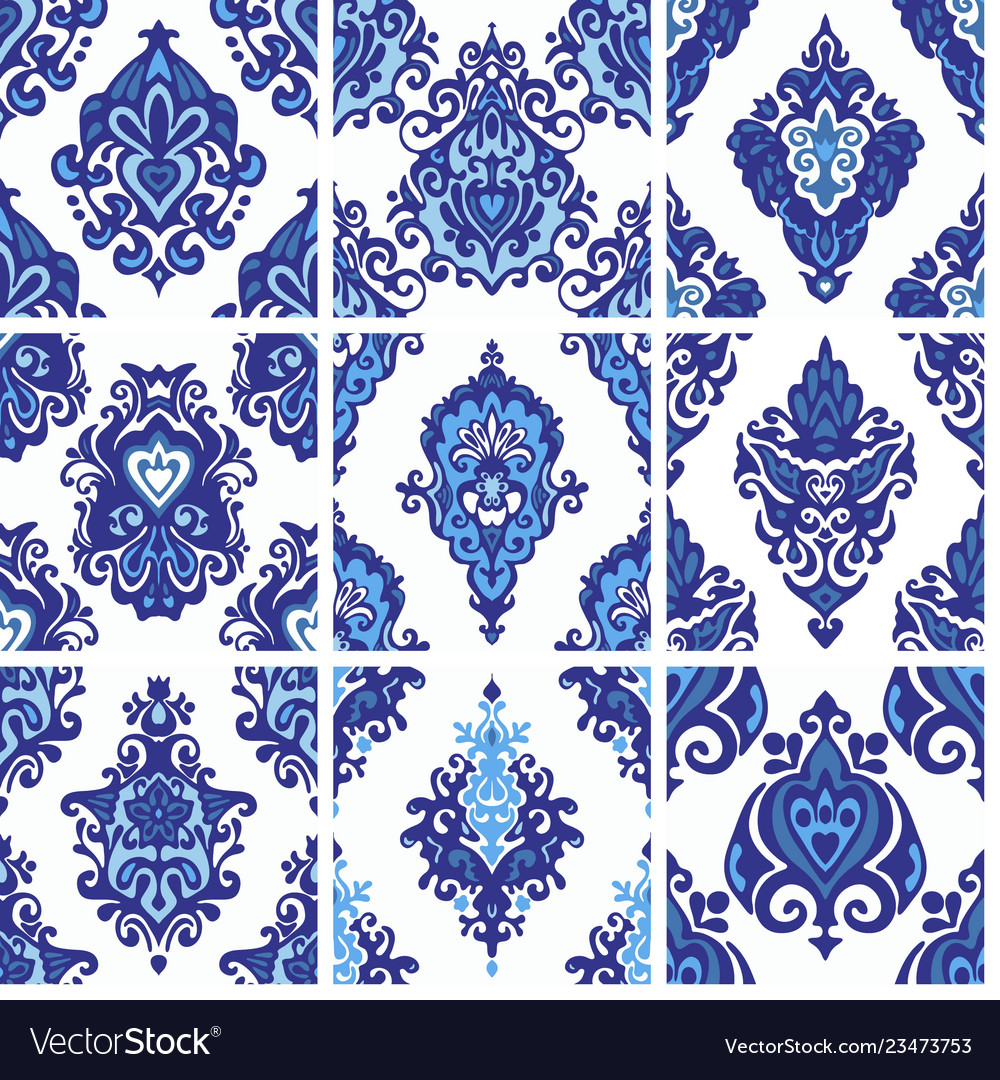 Seamless decorative patterns set