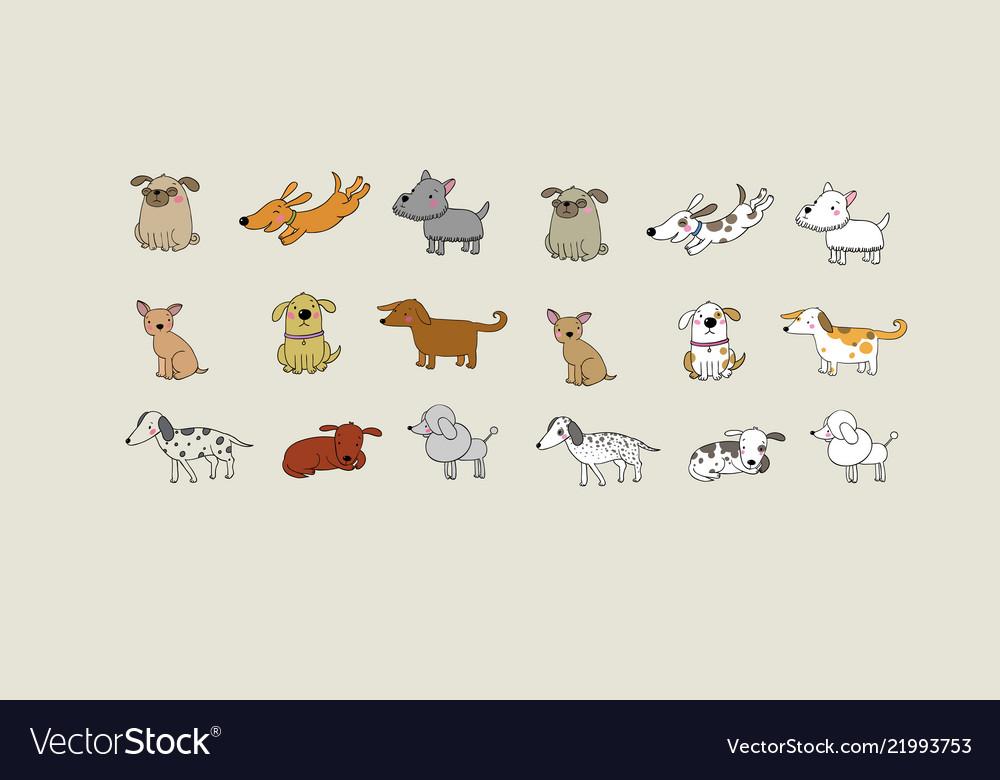 Set of cartoon dogs happy pets zoo
