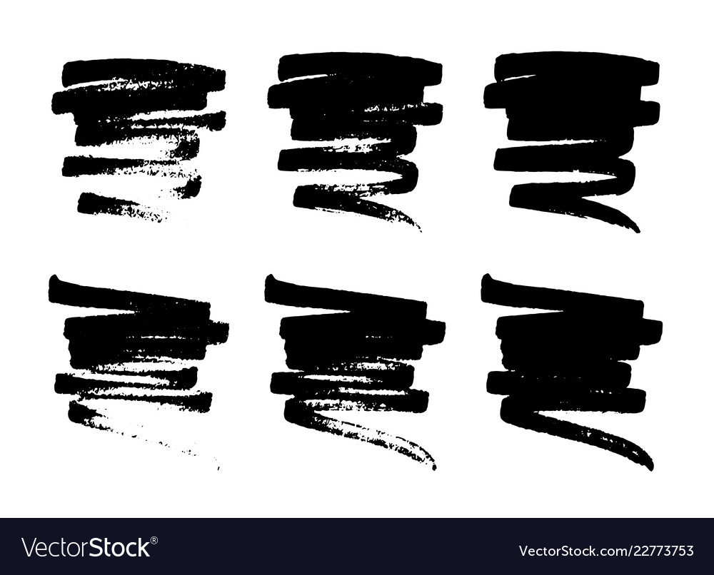 Set of hand drawn grunge smears strokes stains