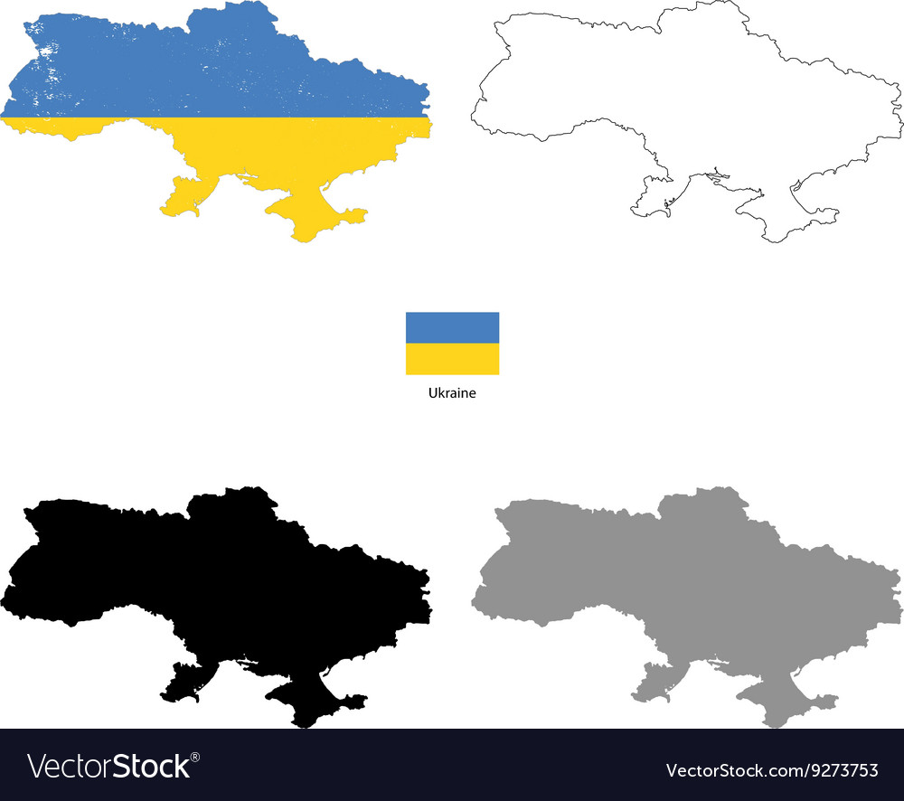 Ukraine country black silhouette and with flag on