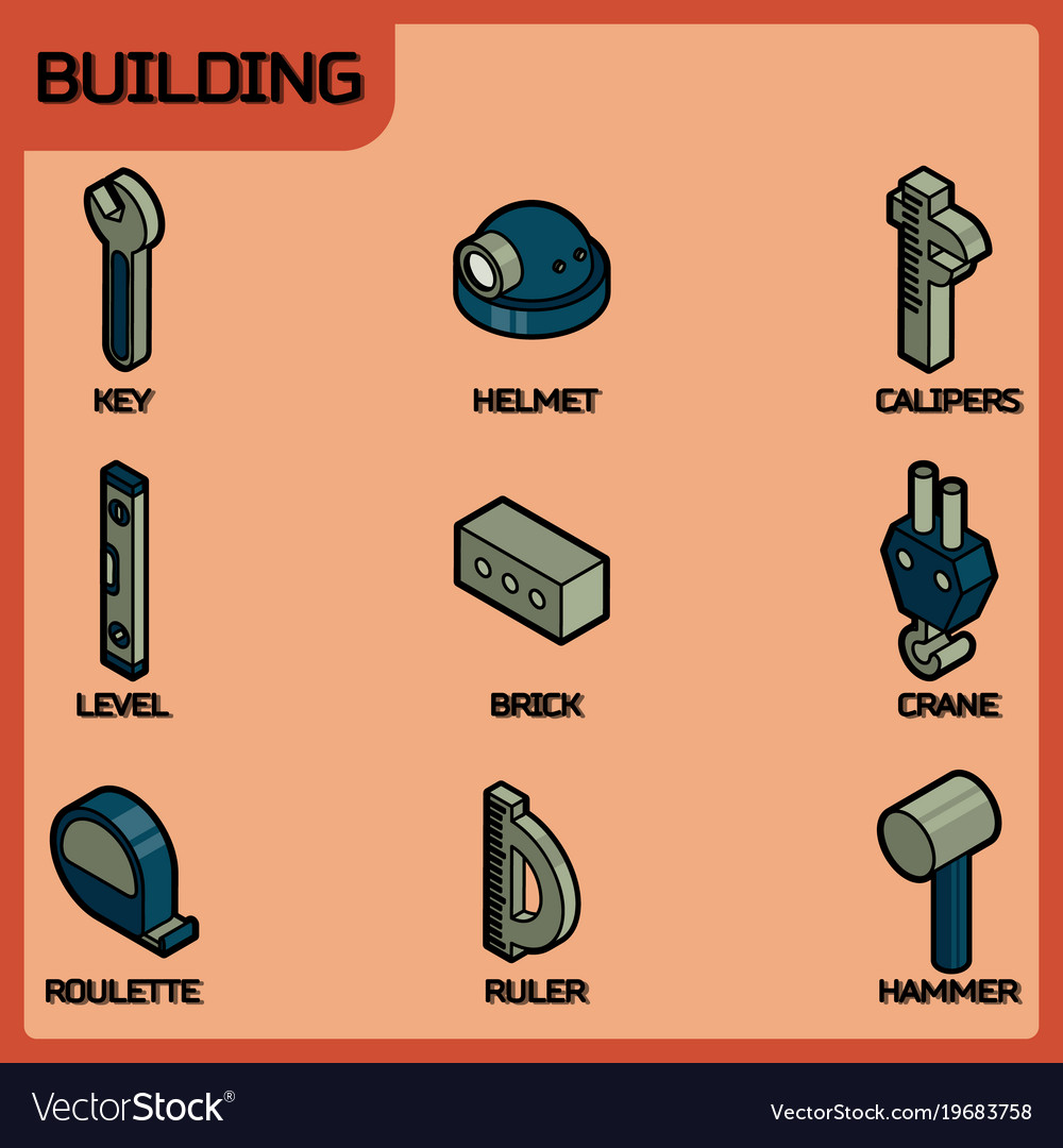 Building color outline isometric icons