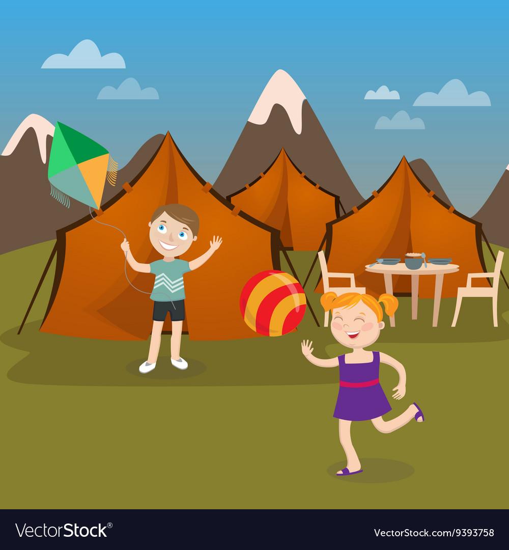 Children Summer Camp Boy Launches Kite