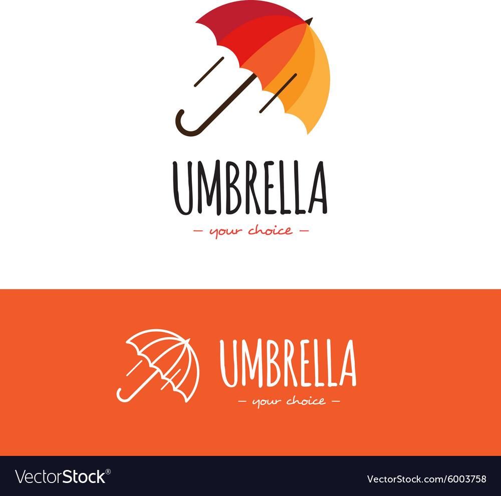 Colorful orange and red umbrella logo Cute