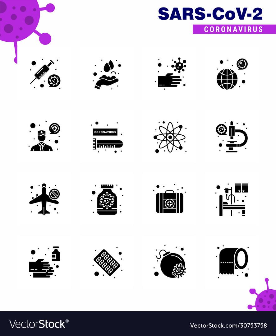 Corona virus disease 16 solid glyph black icon