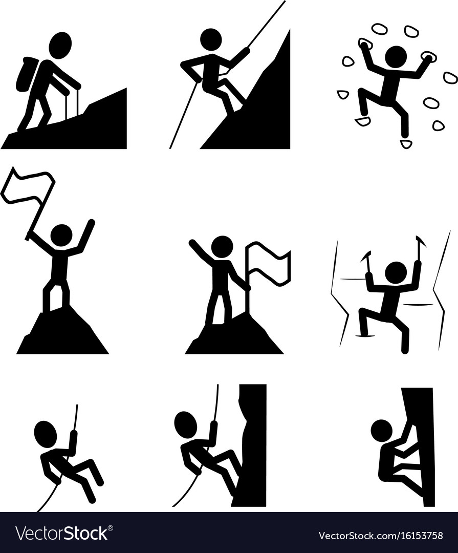 Hiking and climbing icon