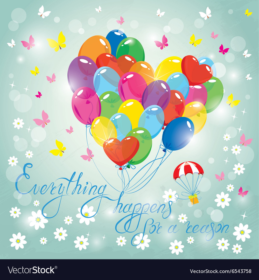 Image with colorful balloons in heart shape on sky