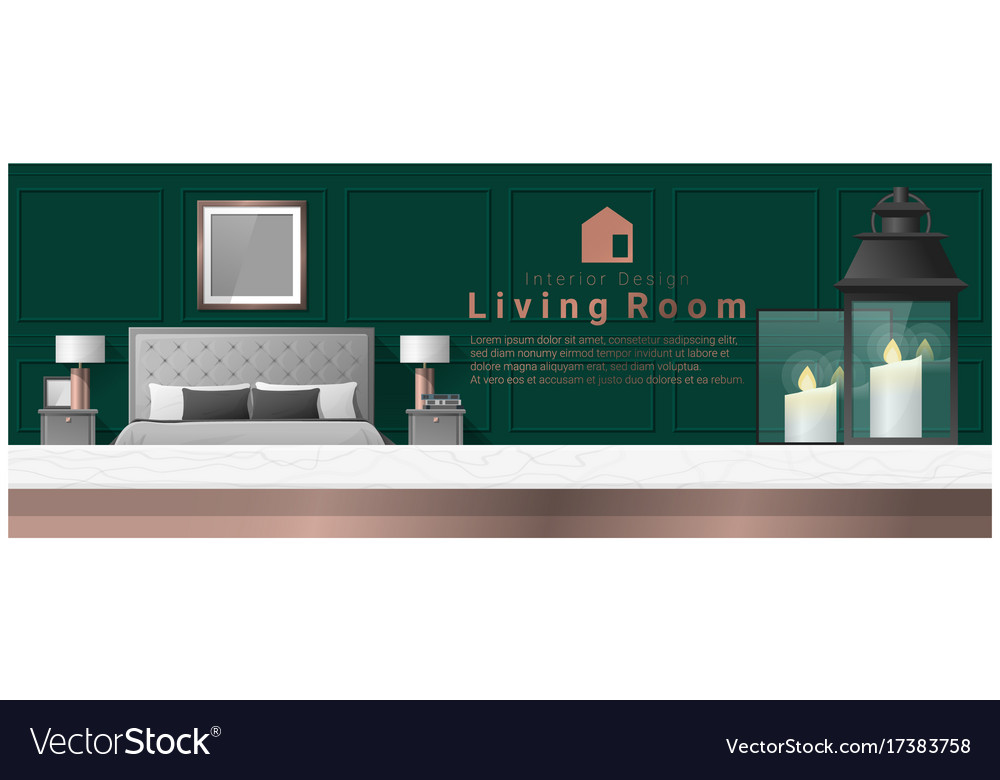 Interior Design With Table Top And Modern Bedroom Vector Image