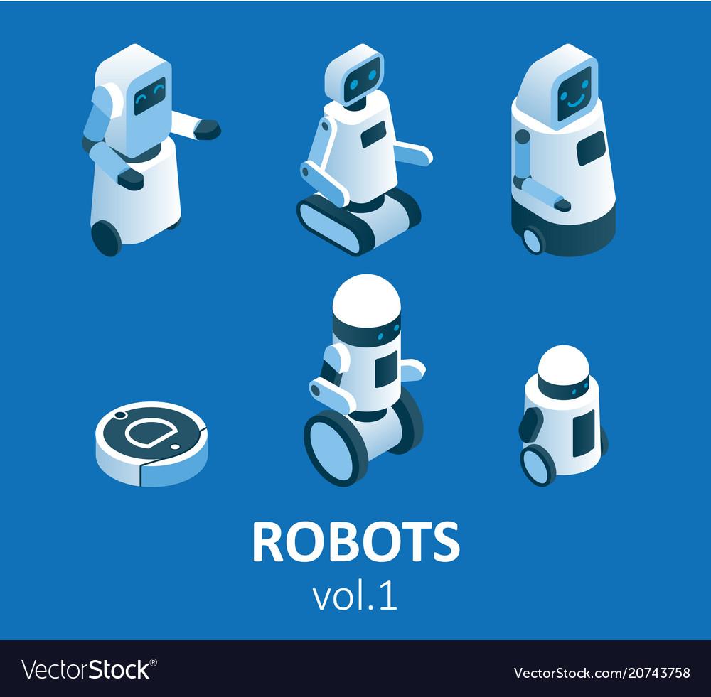 Isometric modern robotics icon set