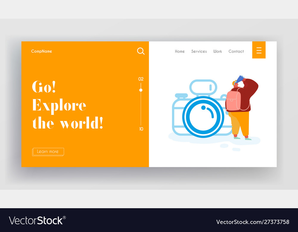 Landing page with man character on adventure