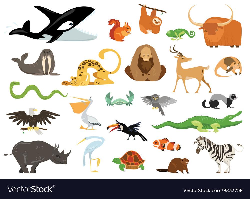Set of cute cartoon animals snakes birds fishes