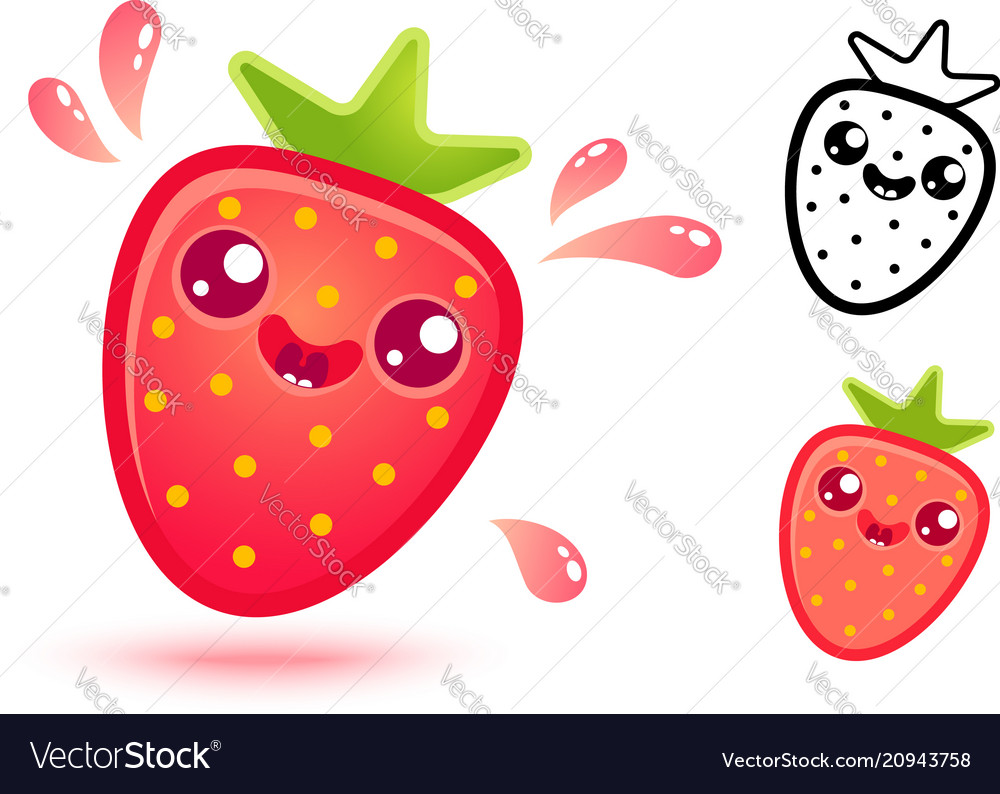 Strawberry with juicy drops vector image