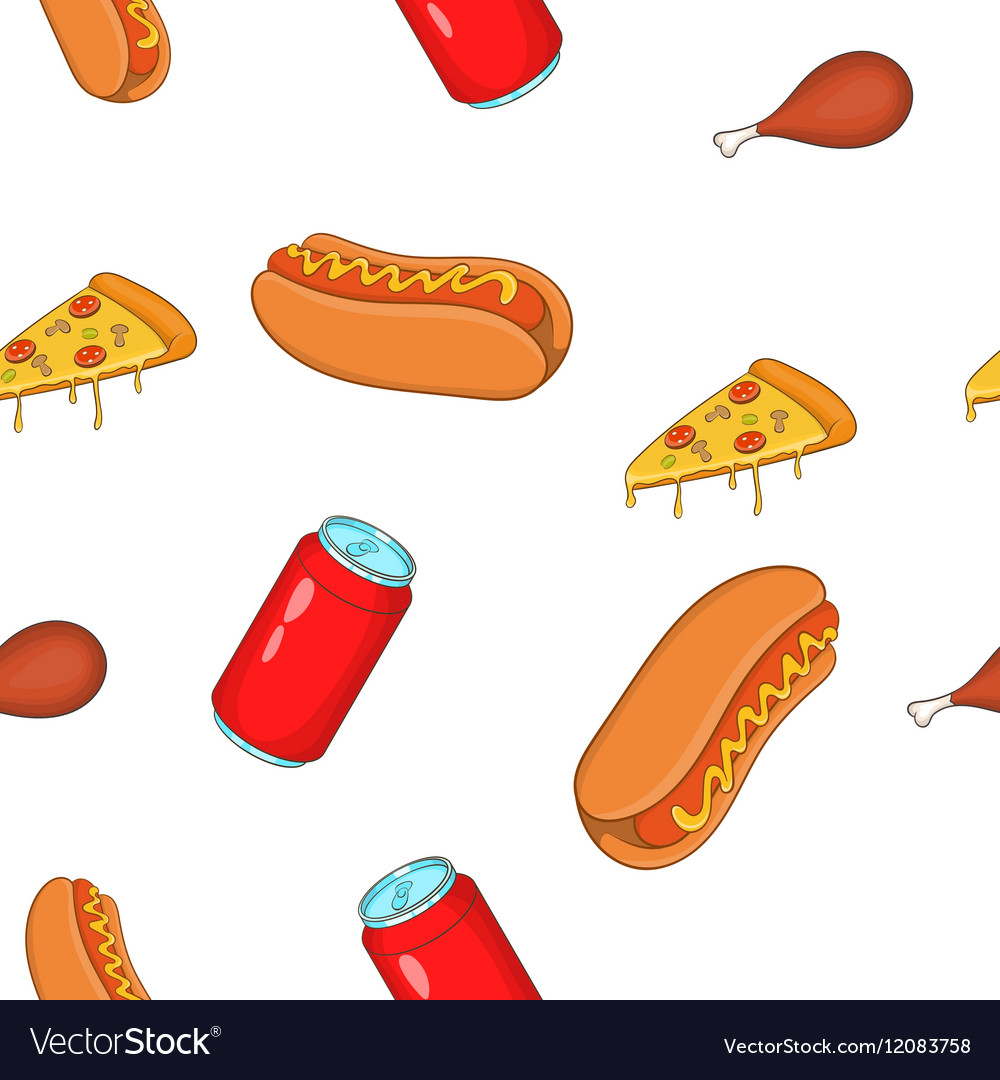 Unhealthy food pattern cartoon style vector image