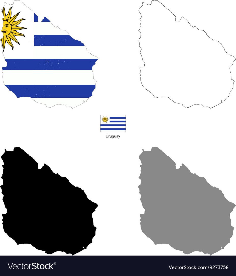 Uruguay Kingdom country black silhouette and with
