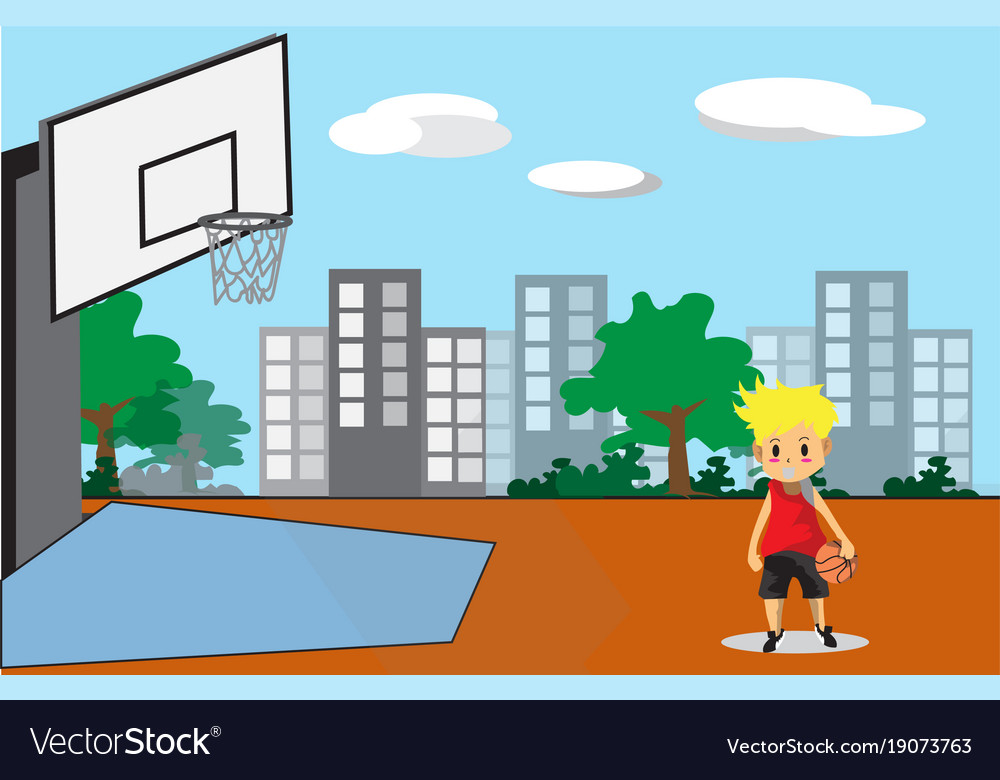 Boy play basketball character design cartoon art