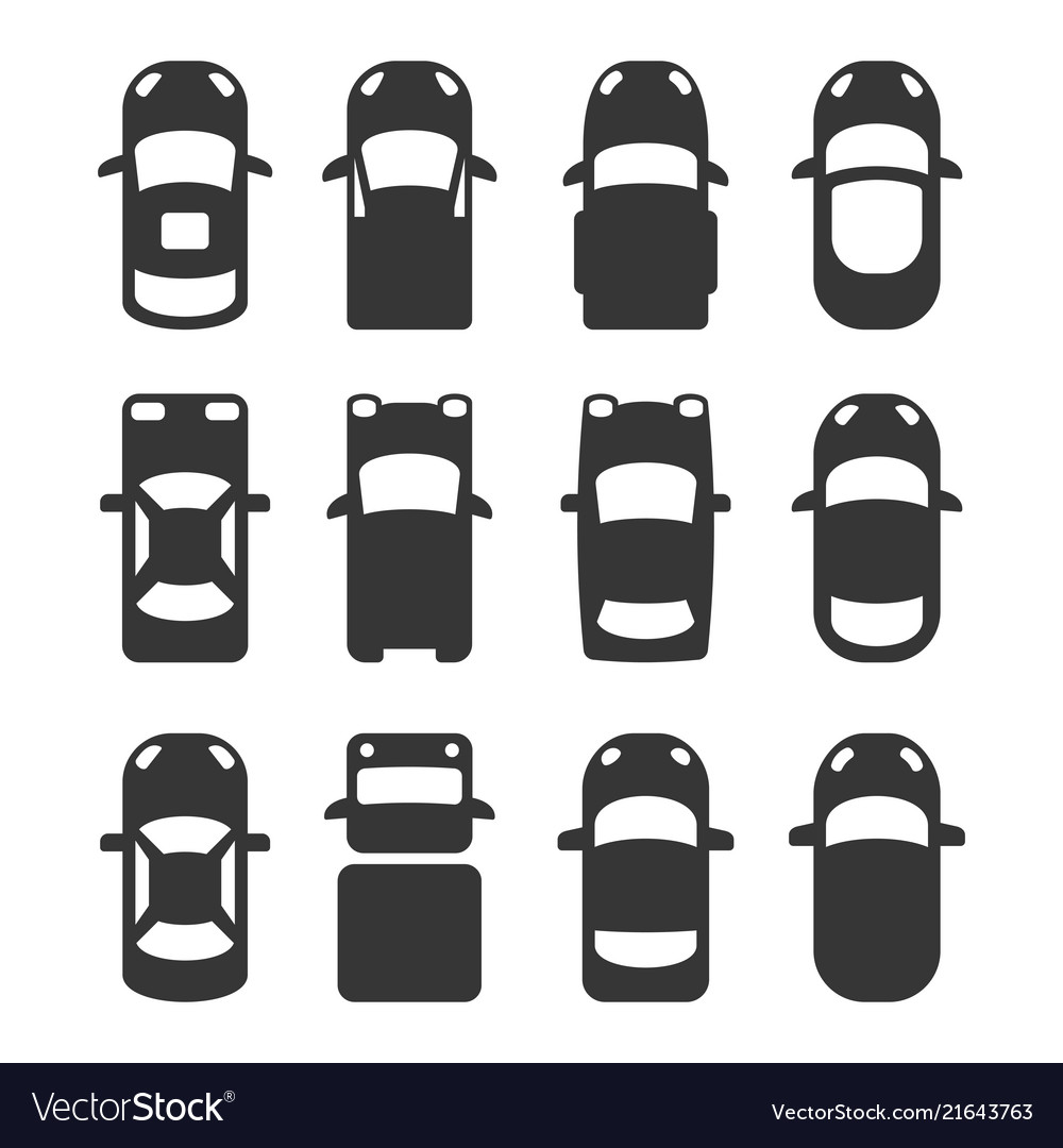 Car top view icons set on white background