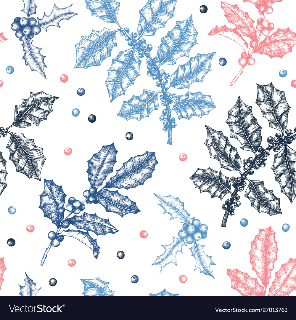 Christmas holly background winter seamless