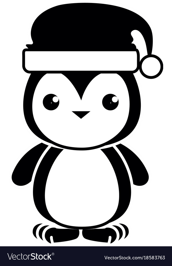 4e7e3f46a95ce Cute penguin with christmas hat kawaii Royalty Free Vector