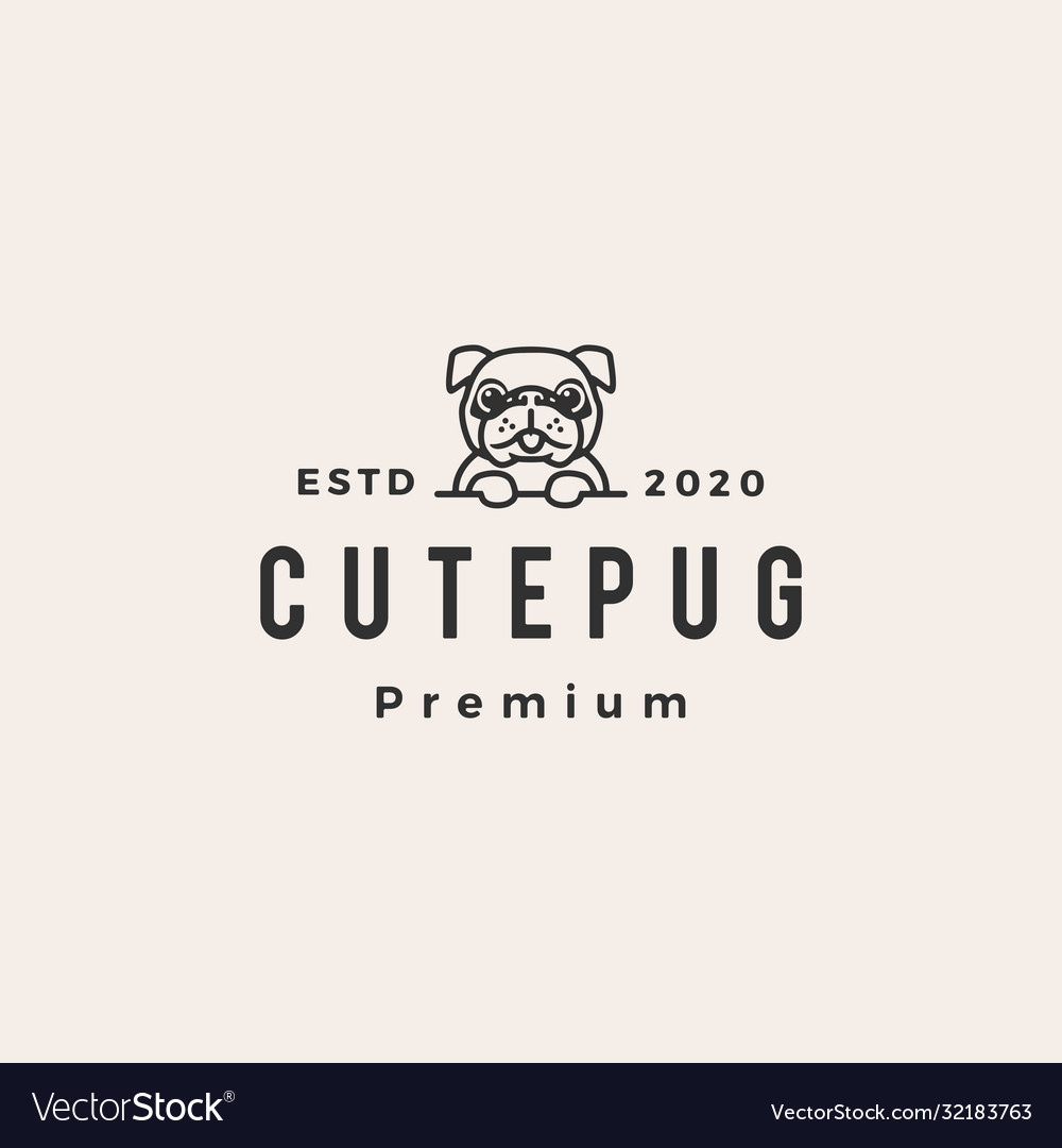 Cute pug dog hipster vintage logo icon