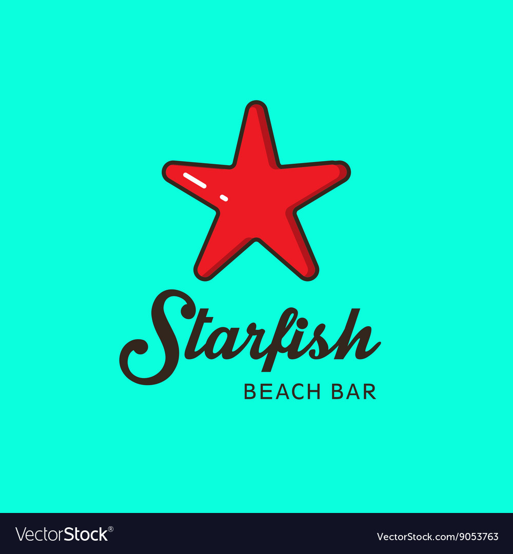 Flat logo with the image of a red starfish