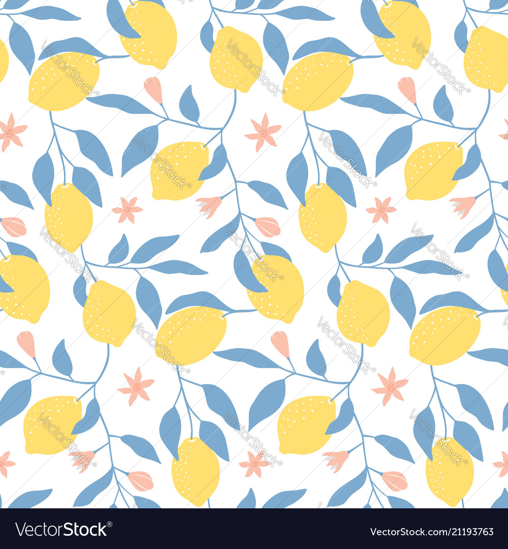 Hand drawn seamless pattern with fresh lemons