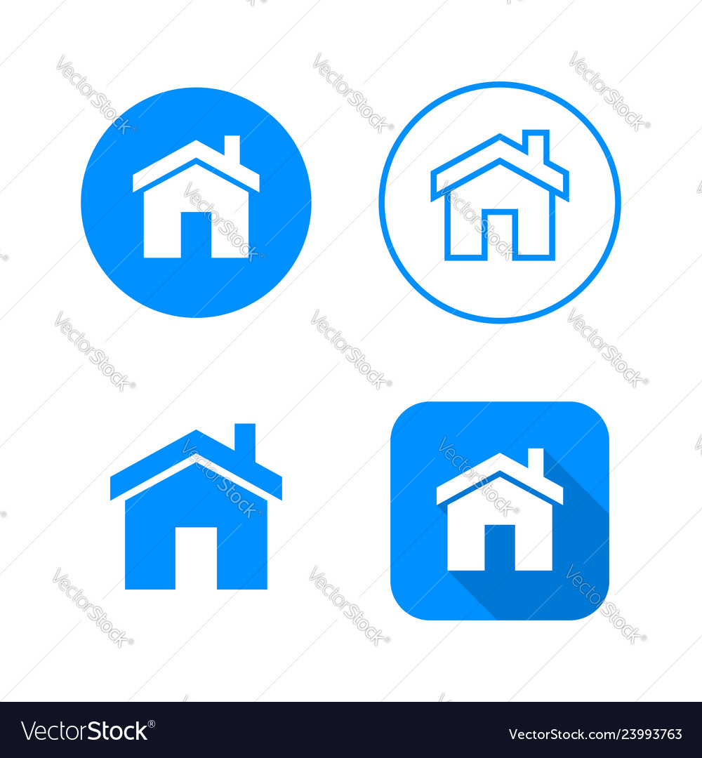 Home icon four variants classic symbol icon in