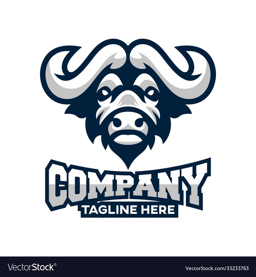 Modern african buffalo logo