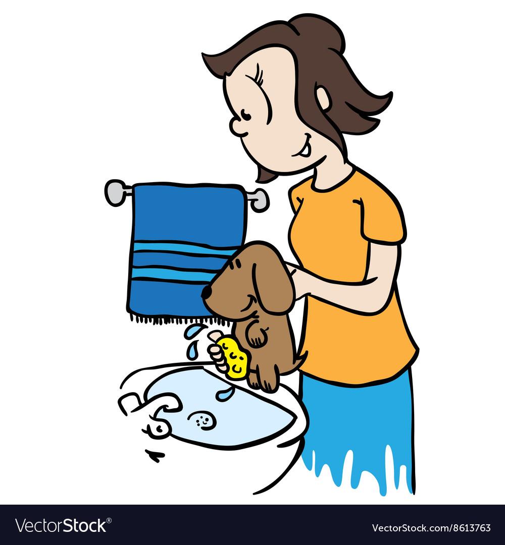 Mom washing a dog vector image