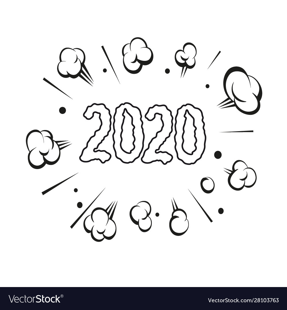 Numbers 2020 hand drawn comic book explosion