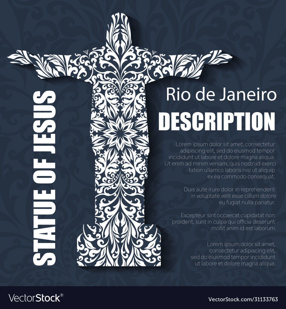 Retro boho floral pattern statue jesus