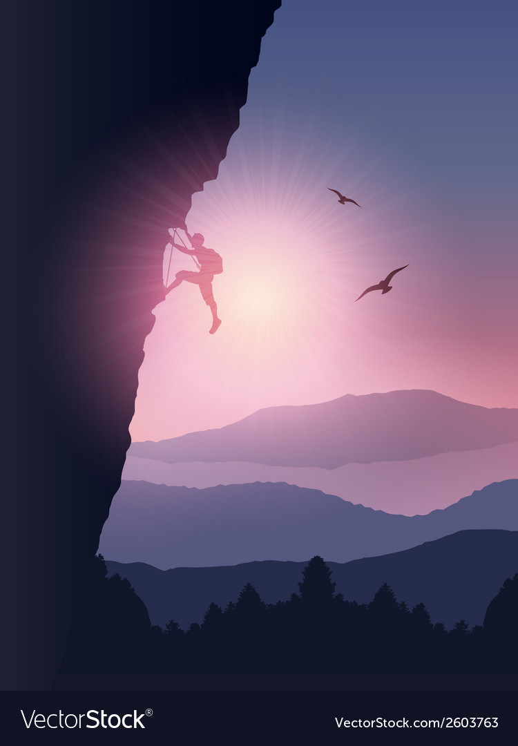 Rock climber background vector image