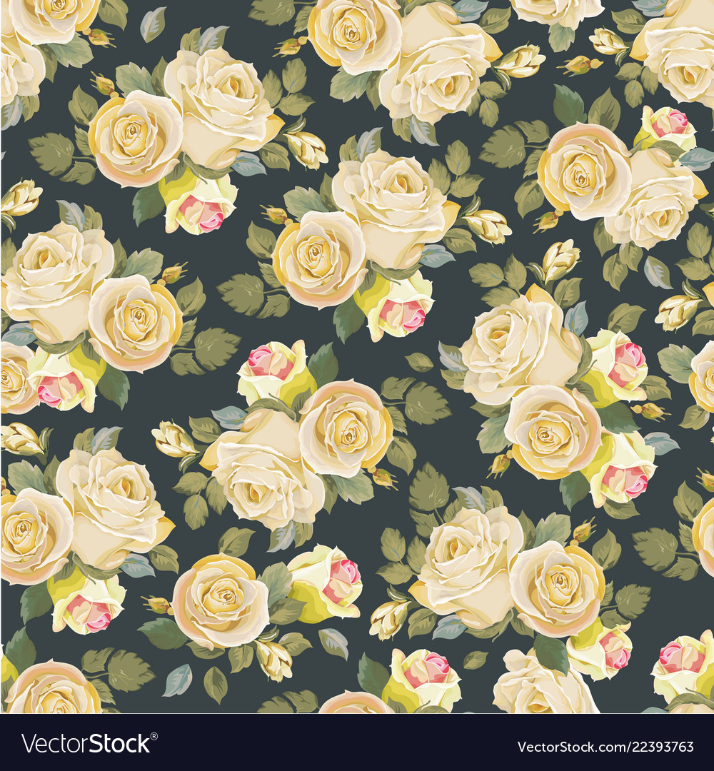 Seamless floral pattern with vintage white roses