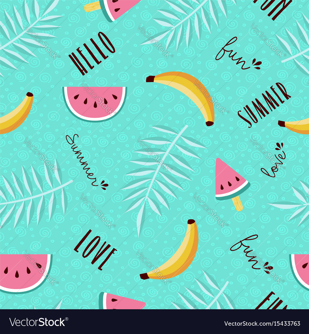 Summer fun seamless pattern of tropical fruit