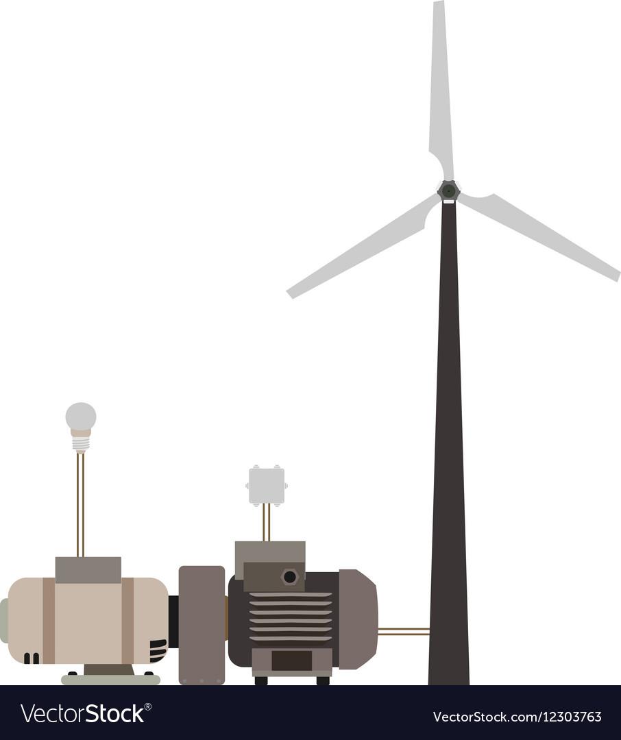 Wind turbine working principle diagram vector image