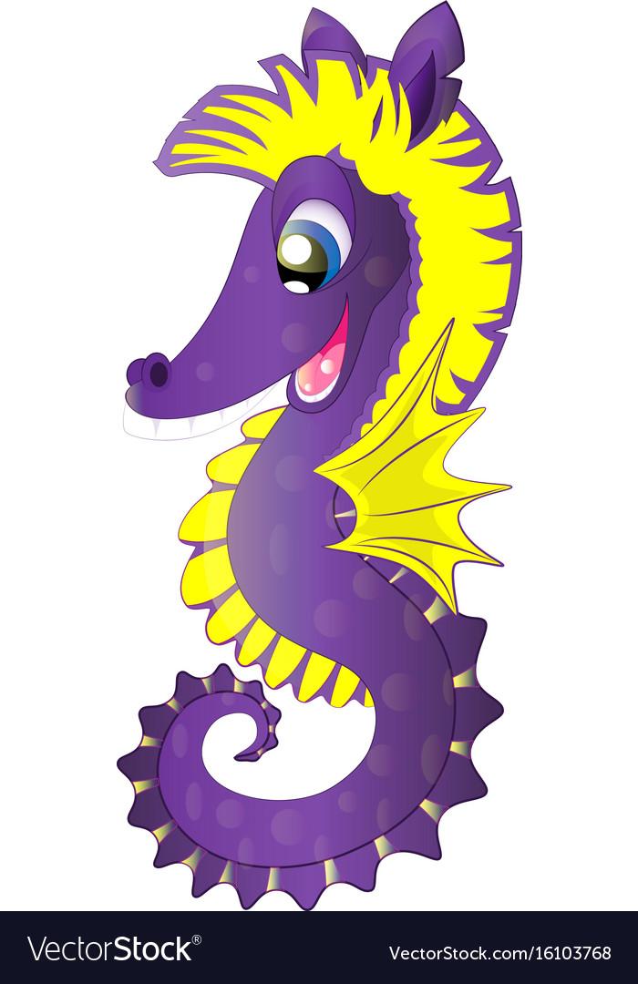 Cartoon cute seahorse