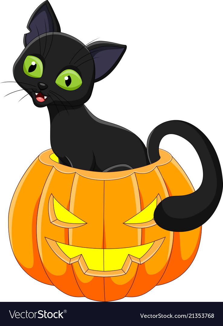 Cartoon Funny Cat With Halloween Pumpkin Vector Image